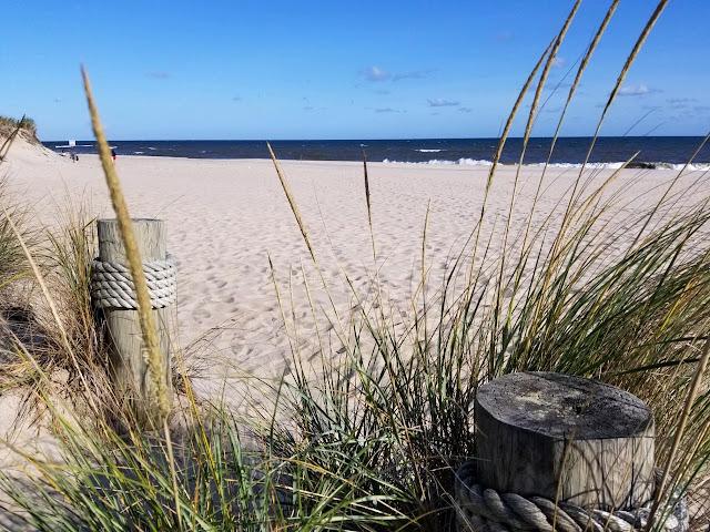 empty stretch of ocean beach