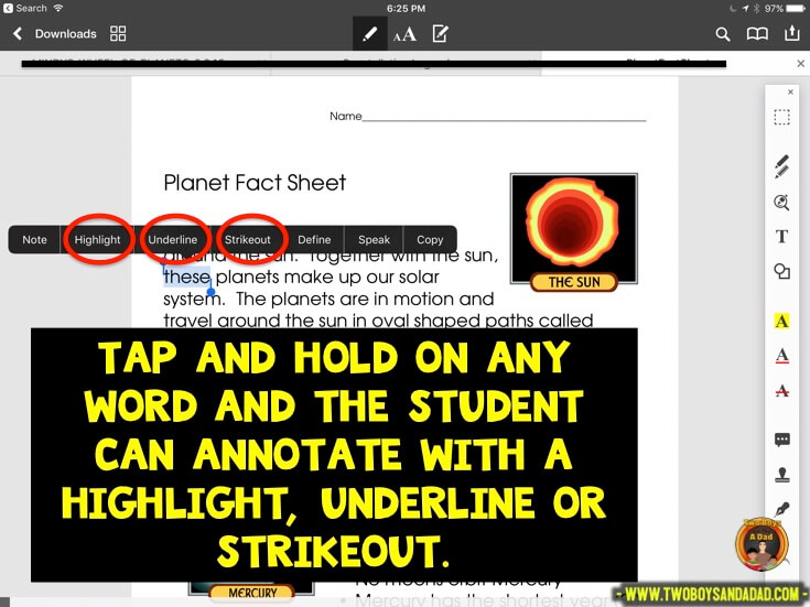 Using PDF Expert in guided reading to highlight words