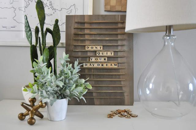 Wooden Scrabble Letter Board #jillibeansoup #jengallacher #letterboard
