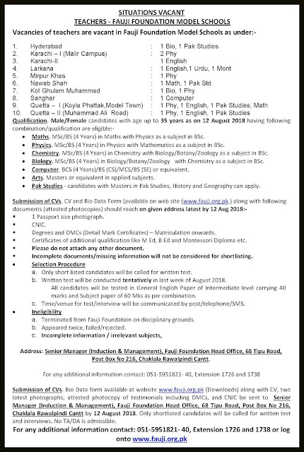 Fauji Foundation Schools Jobs 2018