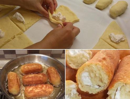 Пирожки-сигары из дрожжевого теста с творожной начинкой
