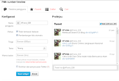 Aizzan Blog:  Membuat Widget Twitter Di Blog