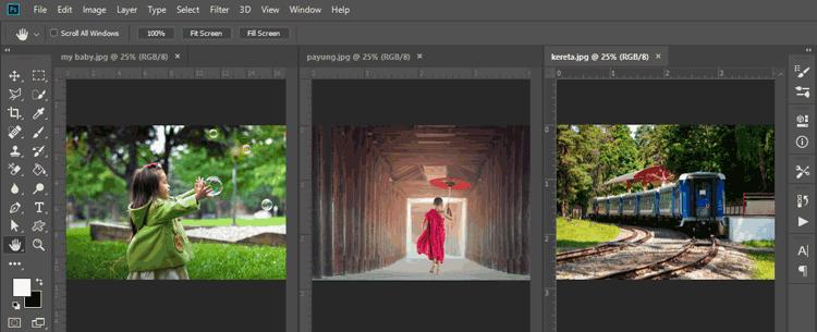 Cara menampilkan foto atau tab di Photoshop secara bersebelahan