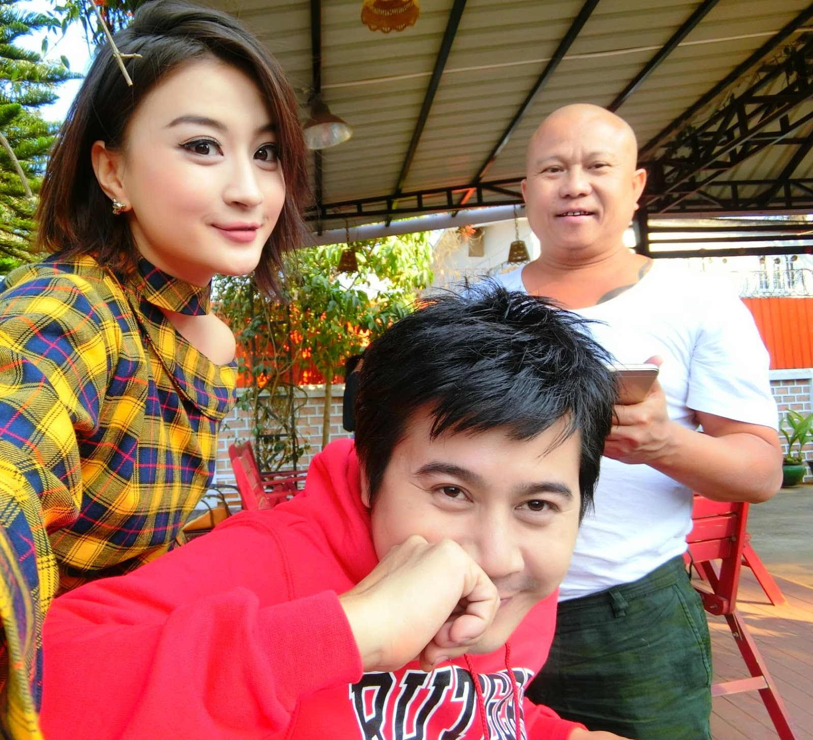 Wut Mhone Shwe Yi Have Fun Together At Shooting With Co-star Nay Toe