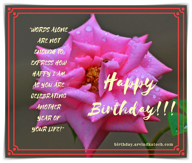 Words, alone, enough, express, Pink Rose, Birthday, Card, Birthday Card, life,