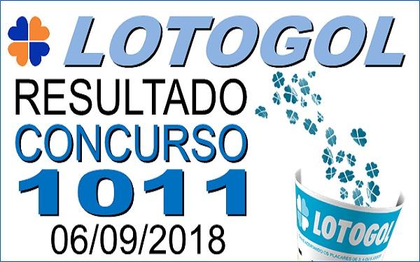 Resultado da Lotogol concurso 1011 de 06/09/2018 (Imagem: Informe Notícias)