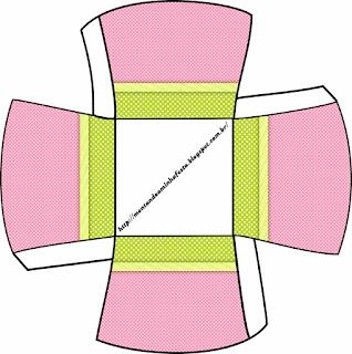 Rosa, Verde y Lunares Blancos: Cajas para Imprimir Gratis para Fiesta de 15 años
