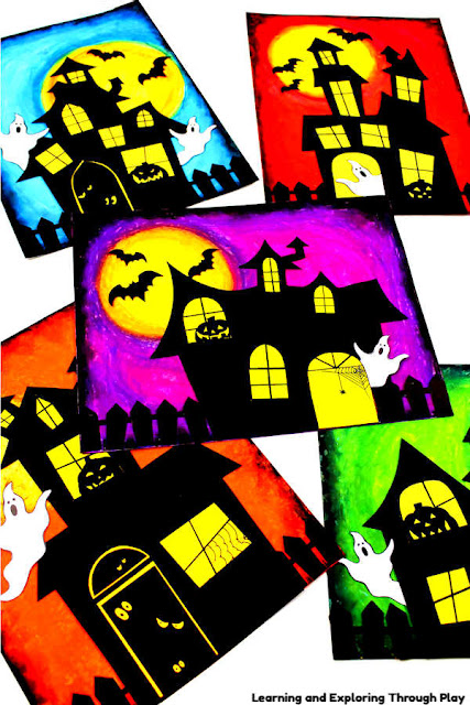 Haunted House Art - Halloween Crafts for Kids