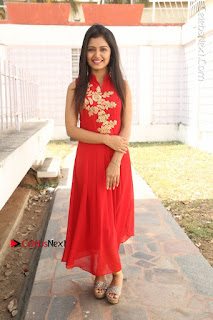 Telugu Actress Priyanka Jain Stills in Red Dress at Amazing Arts Production no 1 Movie Opening  0038.JPG