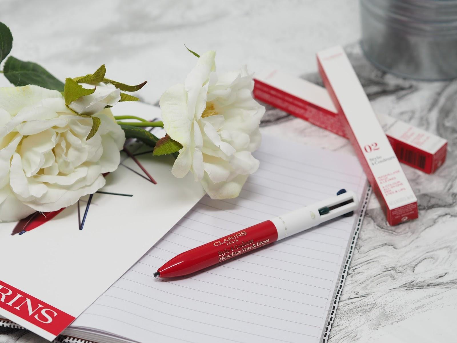 Clarins 4 Colour Pen flatlay blog review