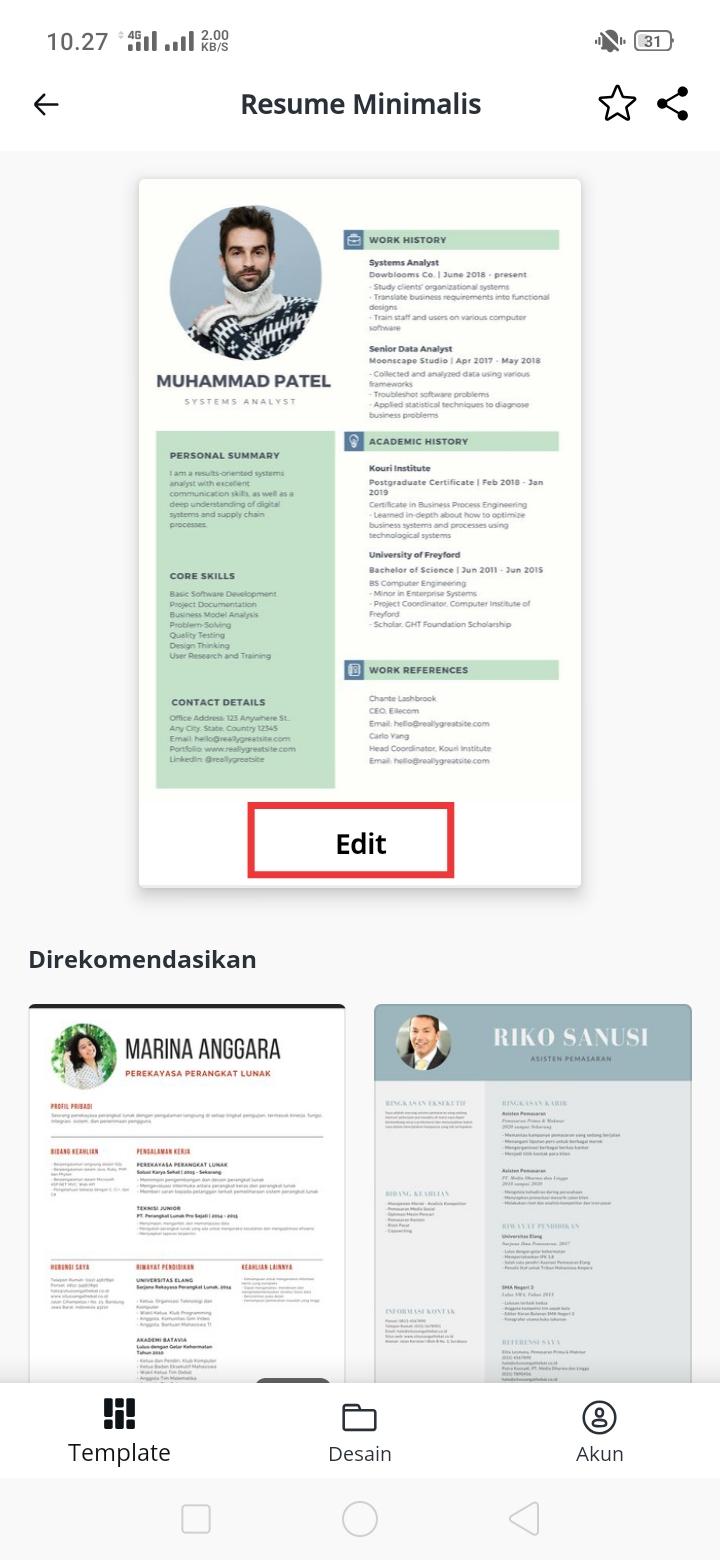 cara membuat resume atau cv minimalis dengan canva di
