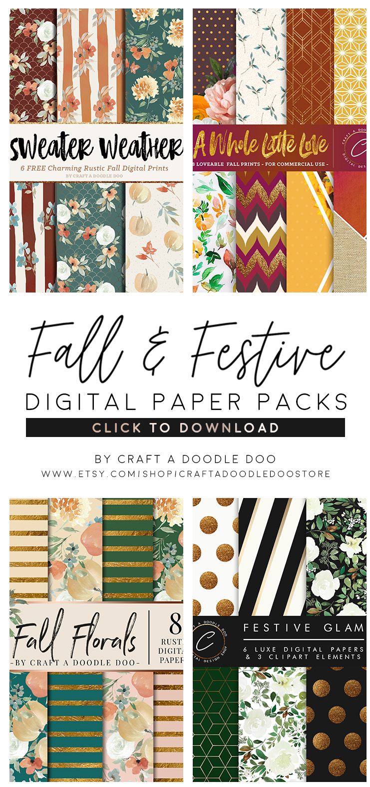 Fall and Festive Digital Paper Packs, patterns and backgrounds for scrapbooking, DIY , crafts and decorating projects. Holiday, thanksgiving and fall printables by Craft A Doodle Doo #digitalpaperpacks #fallprintablepapers #fallfloralpatterns