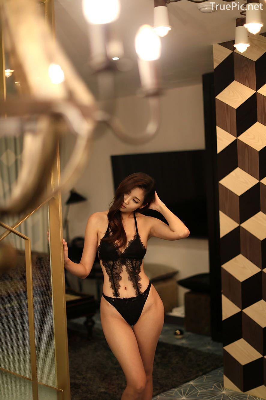 Lee Hee Eun - Bohemian lace black lingerie - Korean model and fashion - Picture 3