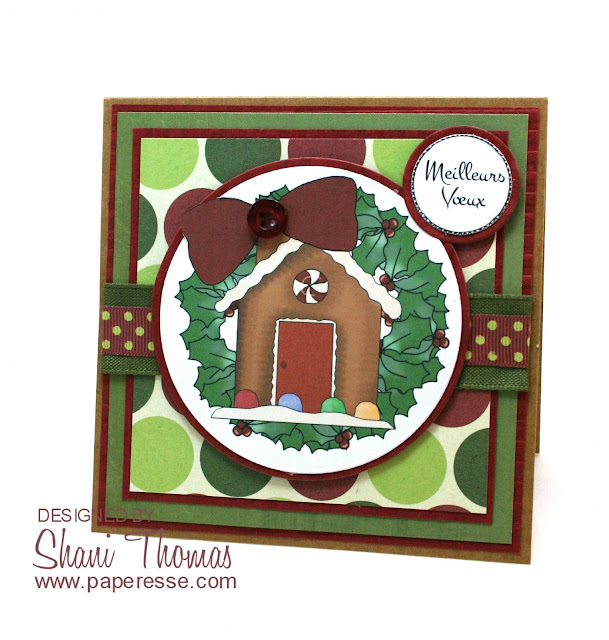 Christmas card featuring Digi Web Studio Cheryl Seslar Sweet Wreaths topper, by Paperesse.
