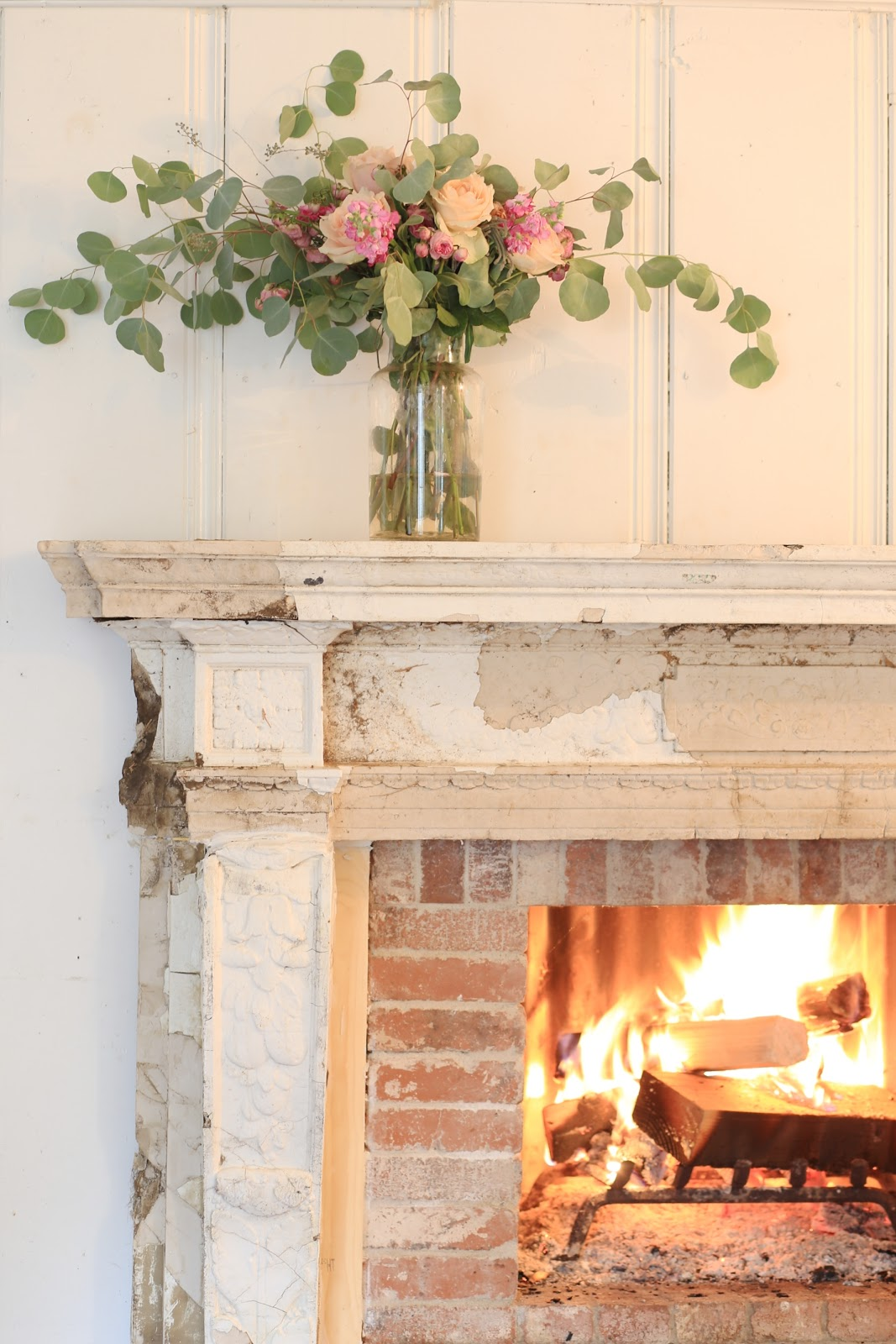 Antique fireplace before after french country cottage for French country fireplace