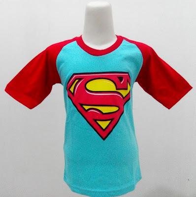 Kaos Raglan Anak Karakter Superman 4 Biru
