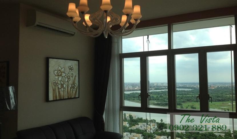 cho thuê căn hộ quận 2 - The Vista phòng khách view sông