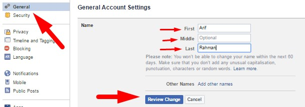 how to change your facebook profile name