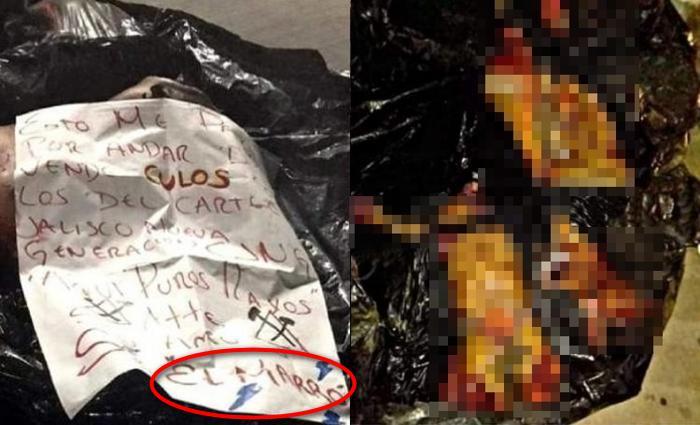 """""""Por vende cul0 con los CJNG"""", Sicarios de """"Su amo y Sr. El Marro"""" dejan cuerpos descuartizados junto a narcomensaje en Guanajuato"""