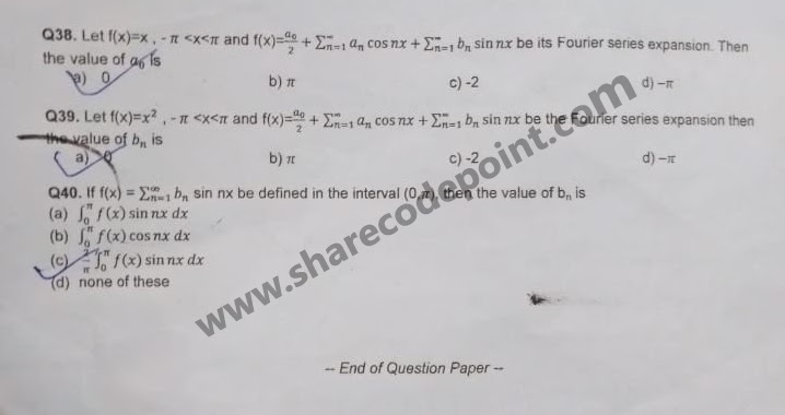 MTH165 mathematics for engineers mid term question paper