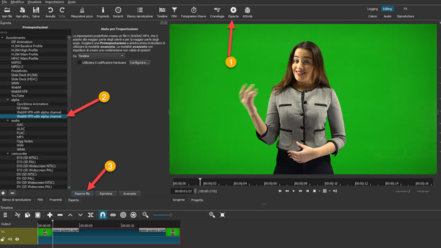 esportare video con sfondo trasparente