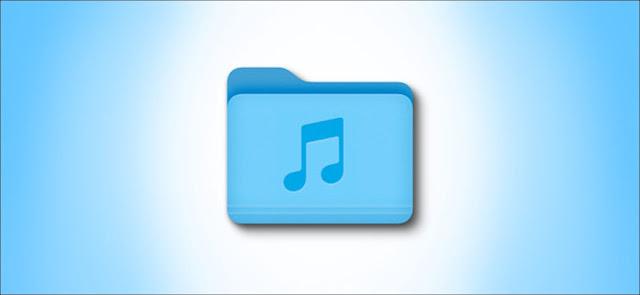 أيقونة Mac Big Sur Music Folder على خلفية زرقاء