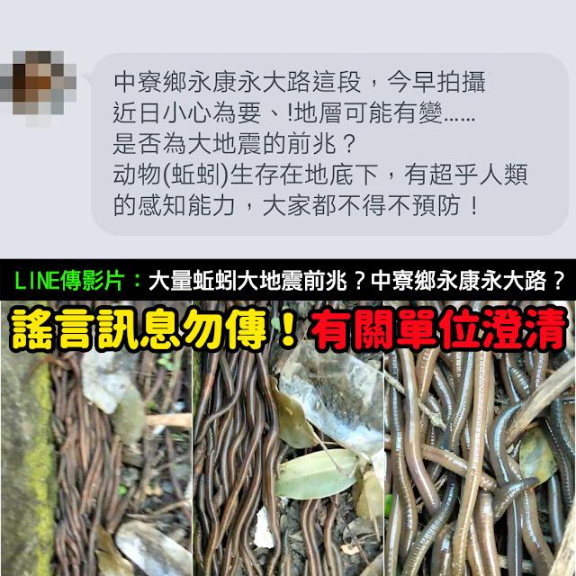 蚯蚓跑出來 地震 中寮鄉永康永大路 謠言 影片