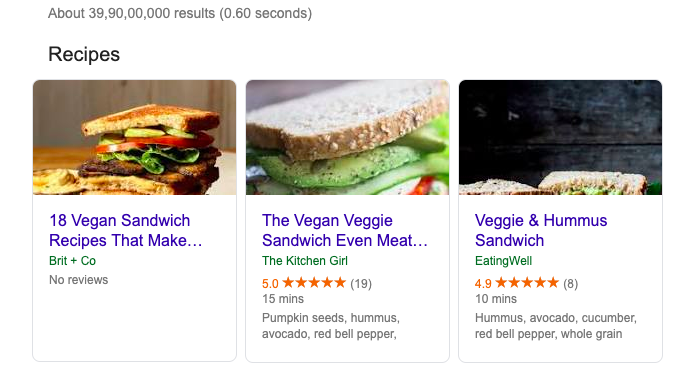 sample for recipe rich result on google
