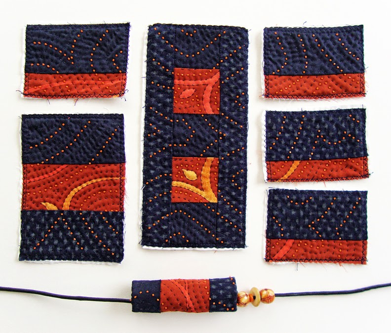 Robin Atkins bead quilt necklace, quilted components