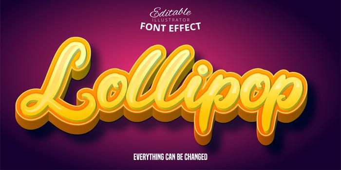 Lollipop Prange Yellow Calligraphy 3D Text Effect On Dark Red Background