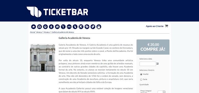 Ticketbar para ingressos para a Galleria Academia em Veneza