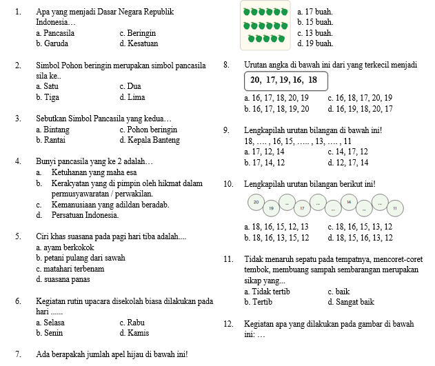 Soal Ujian Semester Kelas 1 Tema 3 SD/MI