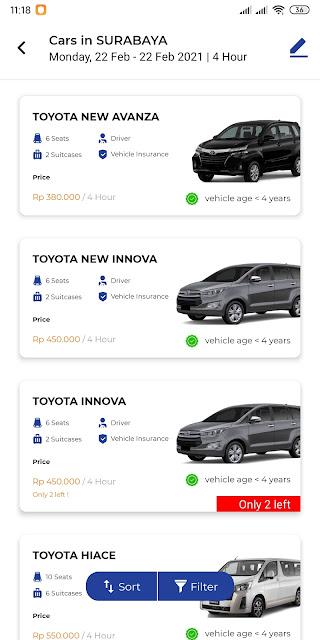 Harga Sewa Mobil di Sera