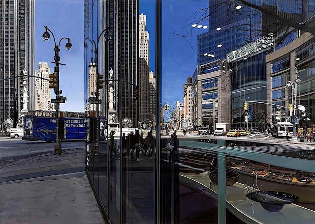 Richard Estes art, an urban scene with reflective glass