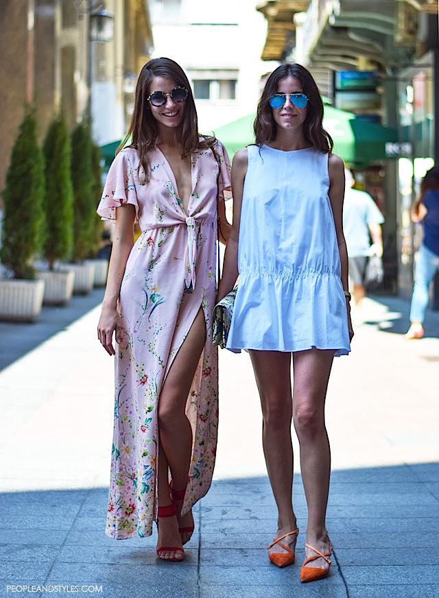 Zara maxi dress salmon pink, street style zagrebačka špica, Petra Vladimir i Sara Vladimir