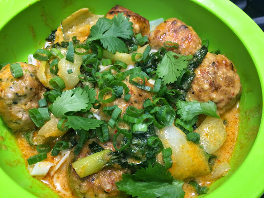 Thai Chicken Meatballs with Red Coconut Curry, Baby Bok Choy & Shirataki Noodles
