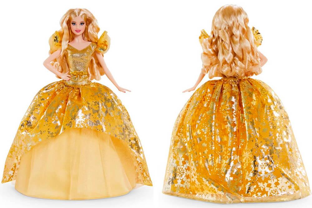 Blonde Barbie in a golden dress 2020