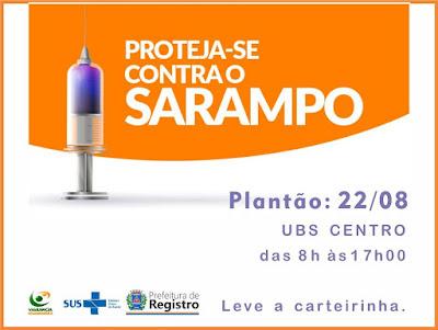 Plantão de vacina contra o Sarampo neste sábado, dia 22 em Registro-SP