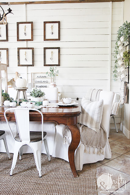 Farmhouse fall decor and decorating ideas. Neutral fall decor. White and green fall decor. How to decorate for fall. Decorate with me. Shiplap wall in dining room. Mismatched dining room chairs