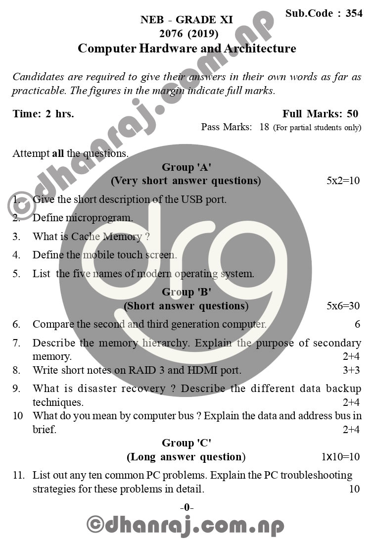 Computer-Hardware-and-Architecture-Grade-11-XI-Question-Paper-2076-2019-Subject-Code-354-NEB