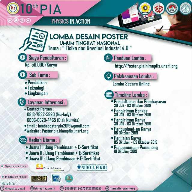 Lomba Desain Poster Nasional Physics in Action (PIA) Unsri 2019 Umum