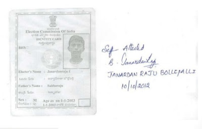 self attested voter identity card