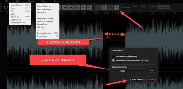 pulsante silenzio audio editor