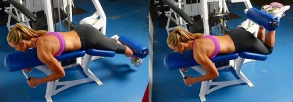 Flexión para bíceps femoral, acostada.
