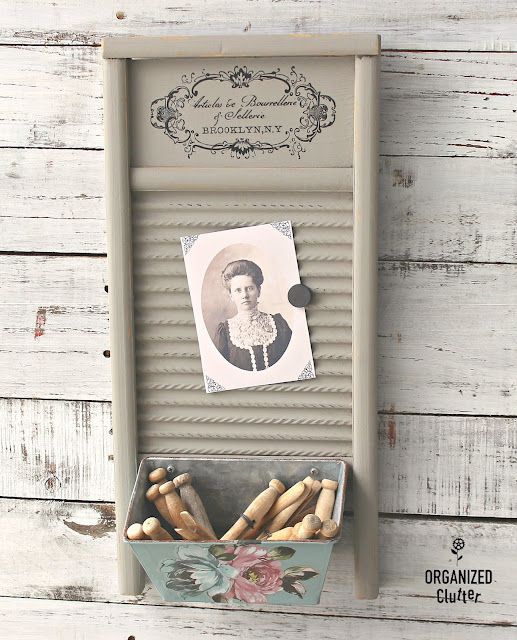 Shabby Chic Upcycle Of A Garage Sale Washboard #dixiebellepaint #redesignbyprima #primamarketing #imagetransfer #washboard #upcycle #garagesalefinds #shabbychic