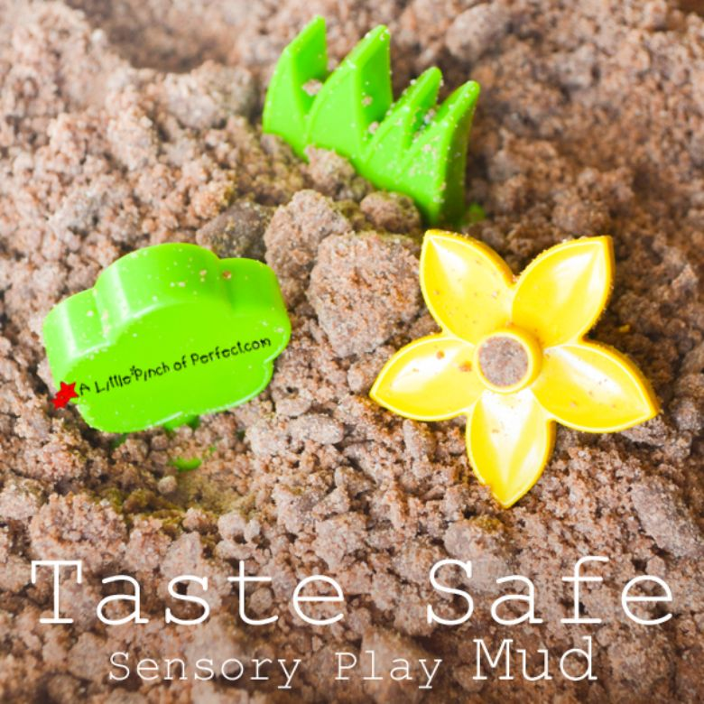 Activities for toddlers - taste safe mud