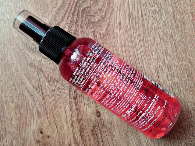 Marion, Nature Therapy - Spray regenerujący włosy, Ocet z malin & koktajl owocowy - Dla każdego rodzaju włosów, szczególnie wymagających wzmocnienia, opis opakowania