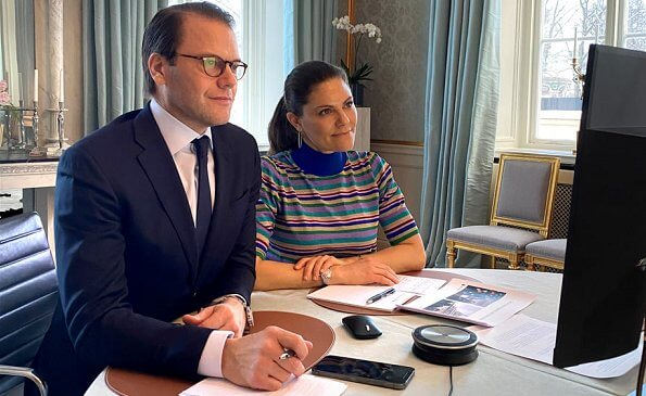 Crown Princess Victoria wore a camellia sweater by Baum und Pferdgarten. Prince Daniel