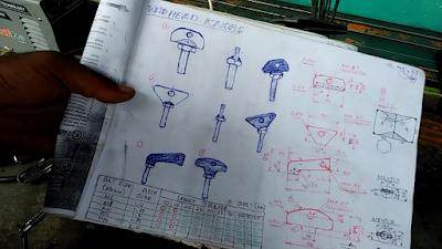 Contoh Variasi Gambar Sketch Baut Knob dari Plate Besi