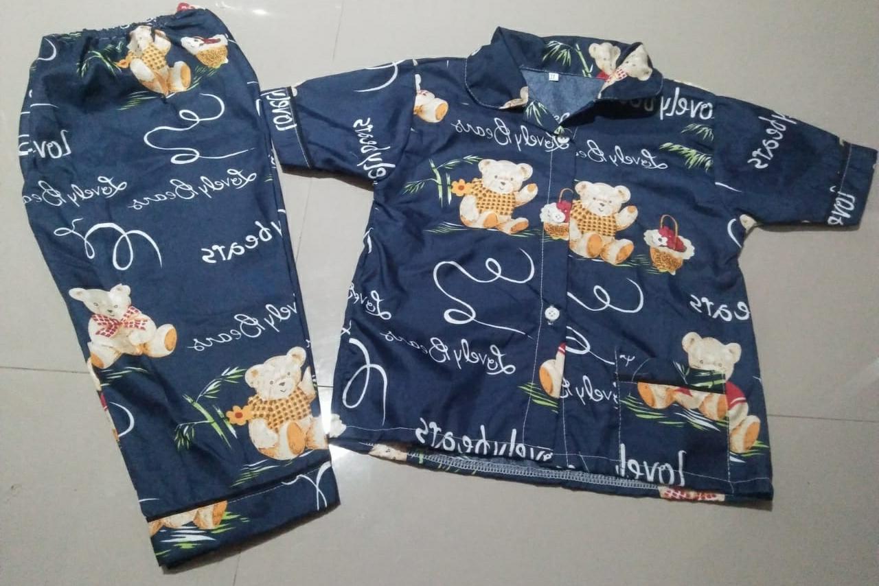 Baju Tidur Anak Umur 4-5 Tahun Gambar Teddy Bear Navy